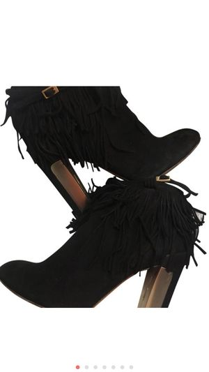Brian Atwood Black seude fringe boots Size US 7 for Sale in New York, NY