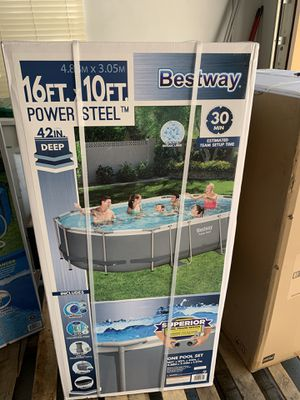 Brand New Bestway 16ft x 10ft x 42in Oval Power Steel Above Ground Swimming Pool Set with Pump, Filter, Ladder, Ground Cloth & Cover for Sale in Tamarac, FL