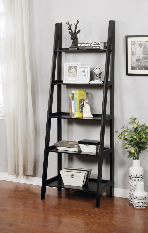 Brand New 5 Tier Black Wood Ladder Shelf (New in Box)