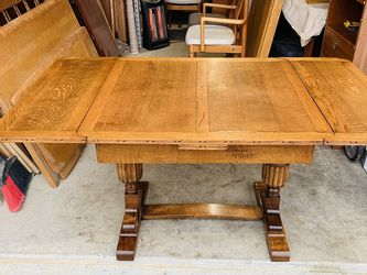 Beautiful Antique English Mission Oak Art Deco Draw Leaf Dining Kitchen Table for Sale in Mukilteo,  WA