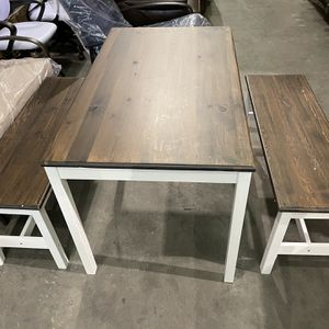 3PCS Dining Table Set w/2 Benches Dining Room Pine Wood Kitchen Furniture Coffee for Sale in Lawrenceville, GA