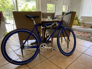 Electric Blue Tribe Single Speed Fixed Gear Bicycle Road Bike with Kryptonite chain and Compact Car Bike rack for Sale in Miami, FL