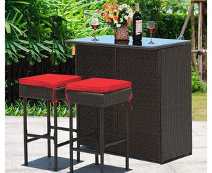 New 3pcs Patio Rattan Wicker Bar Table Stools Dining Set for Sale in Chula Vista,  CA