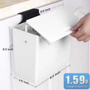 Compact Hanging White Trash Can for Kitchen Cabinet Door W/ Lid for Sale in Los Angeles, CA