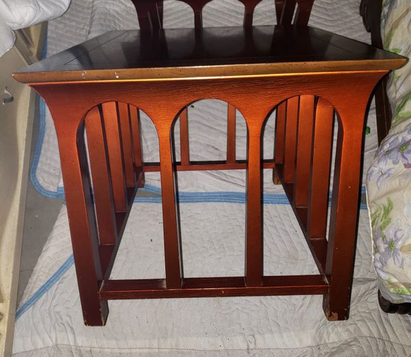 Pair Of Unique Vintage Solid Satinwood Top End Tables / Accent Tables
