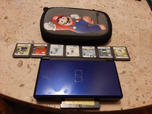 Nintendo DS (Midnight Blue) w/ 7 DS games and 1 GBA game for Sale in Lake Worth, FL