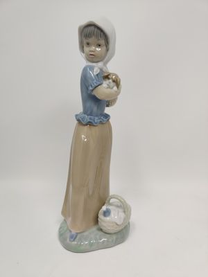 Nao Lladro Porcelain Protecting the Dog Figurine Girl with Puppy Dog Basket for Sale in Crofton, MD