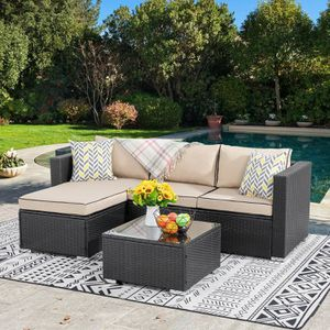 Patio Table & Pool Chairs Wicker Furniture Outdoor Rattan Sofa Garden Conversation Backyard Set (Khaki/Black) for Sale in Boston, MA