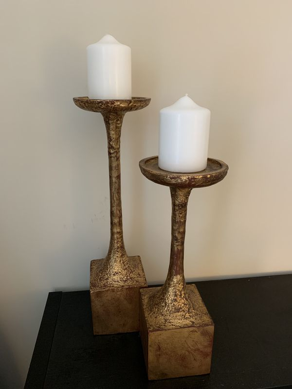 Solid metal gold candle holders