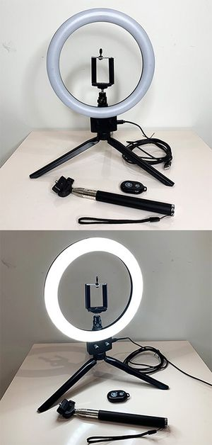 """(New in box) $25 each LED 8"""" Ring Light Dimmable Table Stand USB Connection w/ Selfie Stick, Camera Remote for Sale in Whittier, CA"""