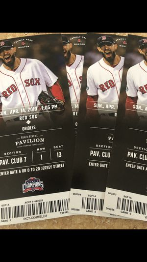Red Sox Tickets (4) game is on Sunday 4/14 at 1:05pm. Seats are state street pavilion club 7, row 1, seats 13,14,15,16 $110 each for Sale in Boston, MA