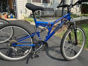 "Harley Davidson 26"", Metallic Blue, full suspension mountain bike, 6 speed for Sale in Bristow, VA"