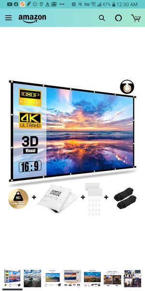 Projector Screen 120 inch 16:9 HD Foldable Anti-Crease Portable Projection Movies Screen for Home Theater Outdoor Indoor ) for Sale in Annandale, VA