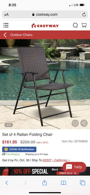 Rattan folding chair set of 4 for Sale in Woodlake, CA
