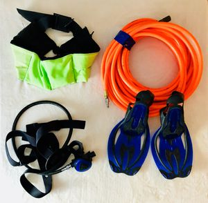 Diving Gear: Respirator, Air Hose, 12lb Weight Belt, Swim Fins for Sale in Crofton, MD