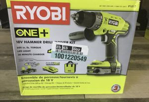 New! Ryobi One Plus 18v Cordless Hammer Drill/ Driver Kit P1812 w/ Tool Bag for Sale in St. Petersburg, FL