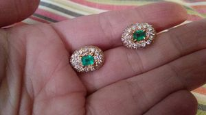 Diamond and emerald earrings 14k for Sale in Mesquite, TX