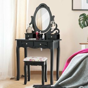 Vanity Makeup Dressing Table Stool Set-Black for Sale in Rowland Heights, CA