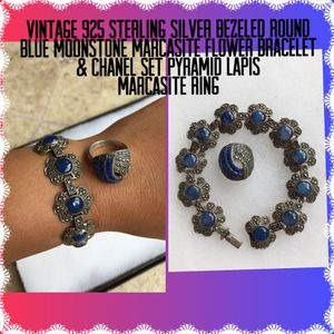 Vintage 925 STER Silver Blue Stone Bracelet & Lapis Ring for Sale in Painesville, OH