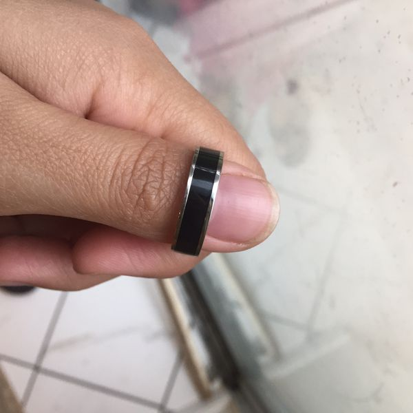 Stainless steel titanium plated black wedding ring size 9 and 10 available