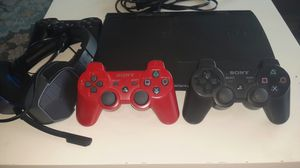 Play Station PS 3 Super Slim + 3 Controllers + Headphones for Sale in Fullerton, CA