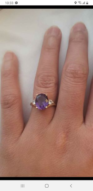 10k gold ring with crystal stone for Sale in Gaithersburg, MD