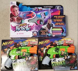 New In Box Kids Nerf Gun Lot! Nerf Rebelle 4 Victory w/Holster & 2x Nerf Zombie Strike for Sale in Charlotte, NC