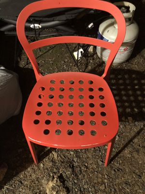 Discontinued metal ikea chairs kaiyo orange stackable set of 4 for Sale in Portland, OR