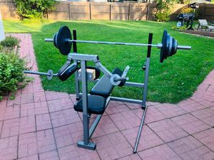 Bench Press - Olympic Bar - Olympic Weights - Work Out - Exercise - Gym Equipment - Training for Sale in Downers Grove, IL