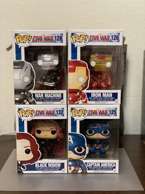 Funko POP! Vinyl Figure - Black Widow, Captain America, Iron Man, War Machine - Captain America Civil War #125, #126, #128 & #132 for Sale in El Monte, CA