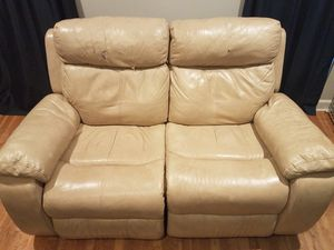 Plush Tan Leather Loveseat Couch that Reclines and Rocks, Good for Sale in Byron, GA