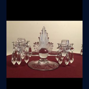 Forstoria flame candelabra two Light pair of art deco glass candle holder from the 1930s for Sale in White Plains, NY