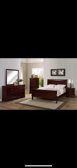 4 pc queen bedroom set, dresser, bed, mirror, nightstand (white, black, grey, cherry/brown) for Sale in Woodbridge,  VA