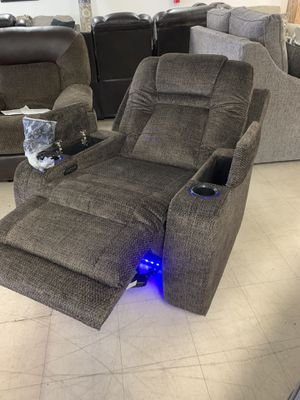 Sofa chair Recliner power chair power headrest USB lights NEW cupholders Downtown Madera Romeo's Furniture for Sale in Madera, CA