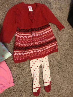 Newborn onesie, 6 mo pineapple and hello Kitty, 9 mo red heart sweater and leggings for Sale in Fairfax, VA