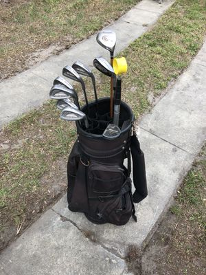 Nice Misc. Golf Club Set - Silver Scot 845 Irons - Dunlop Putter - Cleveland Wood, Ball Retriever - w/Cart Bag for Sale in Orlando, FL