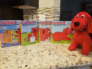 Clifford Stuffed Animal and Hard Cover Book Collection for Sale in Las Vegas, NV
