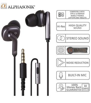 BLACK - Alphasonik Premium In Ear Noise Isolating Headset Earphones/Earbuds/Headphones with Stereo Microphone & Remote Control Made for Apple iPhone for Sale in Los Angeles, CA