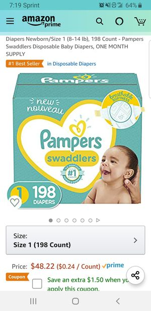 Diapers Newborn/Size 1 (8-14 lb), 198 Count - Pampers Swaddlers Disposable Baby Diapers, ONE MONTH SUPPLY for Sale in Clovis, CA