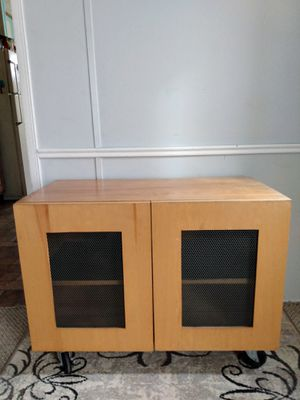 RUSTIC/ INDUSTRIAL STYLE SOLID WOOD ROLLING STORAGE CABINET/ TV STAND for Sale in Kent, OH