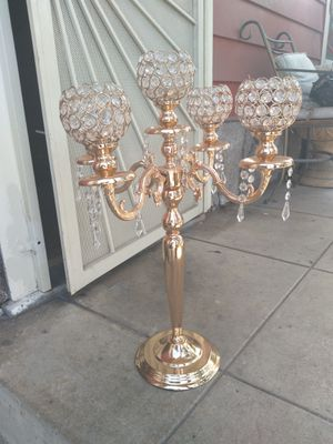 Gold Tone Chrystal Candelabra for Sale in Los Angeles, CA