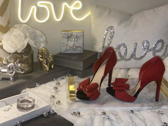 Red Bow open toe Suede Heels 6.5 for Sale in Annandale,  VA