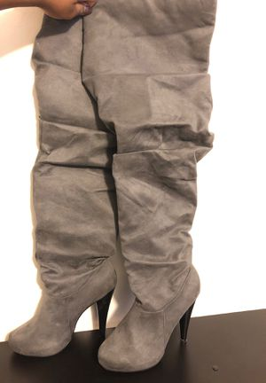 Women gray suede thigh high heel boots for Sale in Detroit, MI