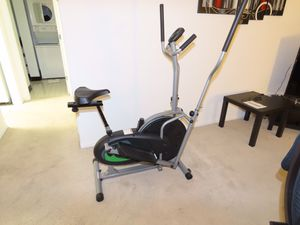 Body Rider Elliptical Trainer and Exercise Bike with Seat and Easy Computer / Dual Trainer 2 in 1 Cardio Home Office Fitness Workout Machine BRD2000 for Sale in Bensenville, IL