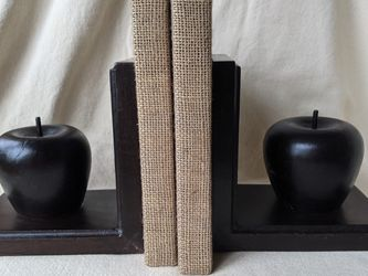 Vintage Set of Mid-Century Hand Carved Wood Apple Bookends Office Shelf Decor for Sale in Alpharetta,  GA