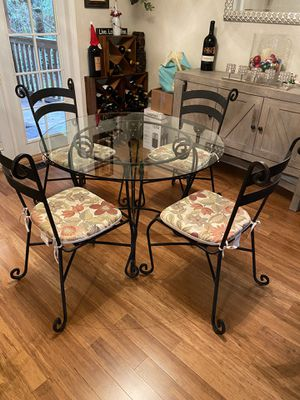 Glass and Wrought Iron Table and Chairs for Sale in Covington, WA