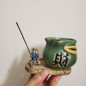 Flower Pot Shiwan Ceramic Art Mud Man Fisherman Man with Fishing Rod for Sale in Miami, FL