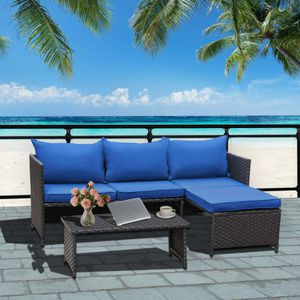 3-Piece Outdoor Patio Wicker Conversation Loveseat Sofa PE Rattan Furniture Set Royal Blue Cushion for Sale in Casper, WY