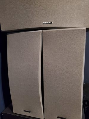 Onkyo front skf 150 and center skc 150 speakers for Sale in Cuyahoga Heights, OH