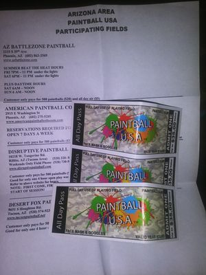 Paintball USA ALL DAY PASS!! 3 TICKETS for Sale in Mesa, AZ
